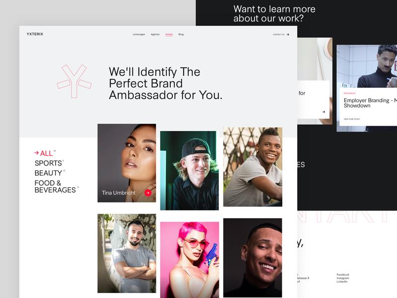 Yxterix - Artists Page design web redesign. rebranding ui marketing agency web design webdesign