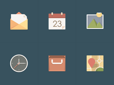 icons mail calendar picture clock store map