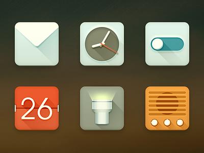 Reclado icons android email clock setting radio flashlight calendar