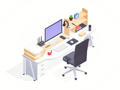 workplace wireless router smart bracelet keyboard cabinet cubbyhole headset iphonex notebook desk chair mouse imac