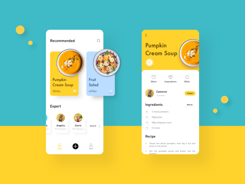 Cooking Recipe App 设计 ui