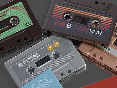 Audio Cassettes with Labels. 3d vintage tapes subway stickers retro project photoshop render original nyc illustrator blender autocad design hi-fi cassette audio art 80s