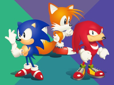 Sonic, Knuckles and Tails Vector Illustrations trio echidna attitude pathtracing gradient original remake illustration art photoshop vector characters videogame 90s knuckles miles tails hedgehog sega sonic