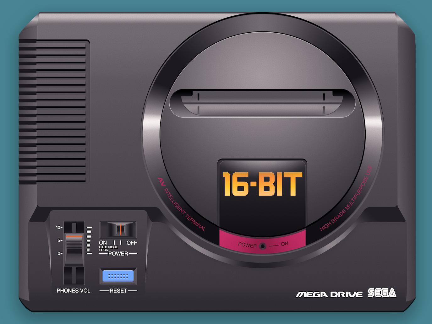 Mega Drive genesis solid audio zilog yamaha sonic videogame game video console vitage 16bit sega japan art design 80s retro photorealistic illustration