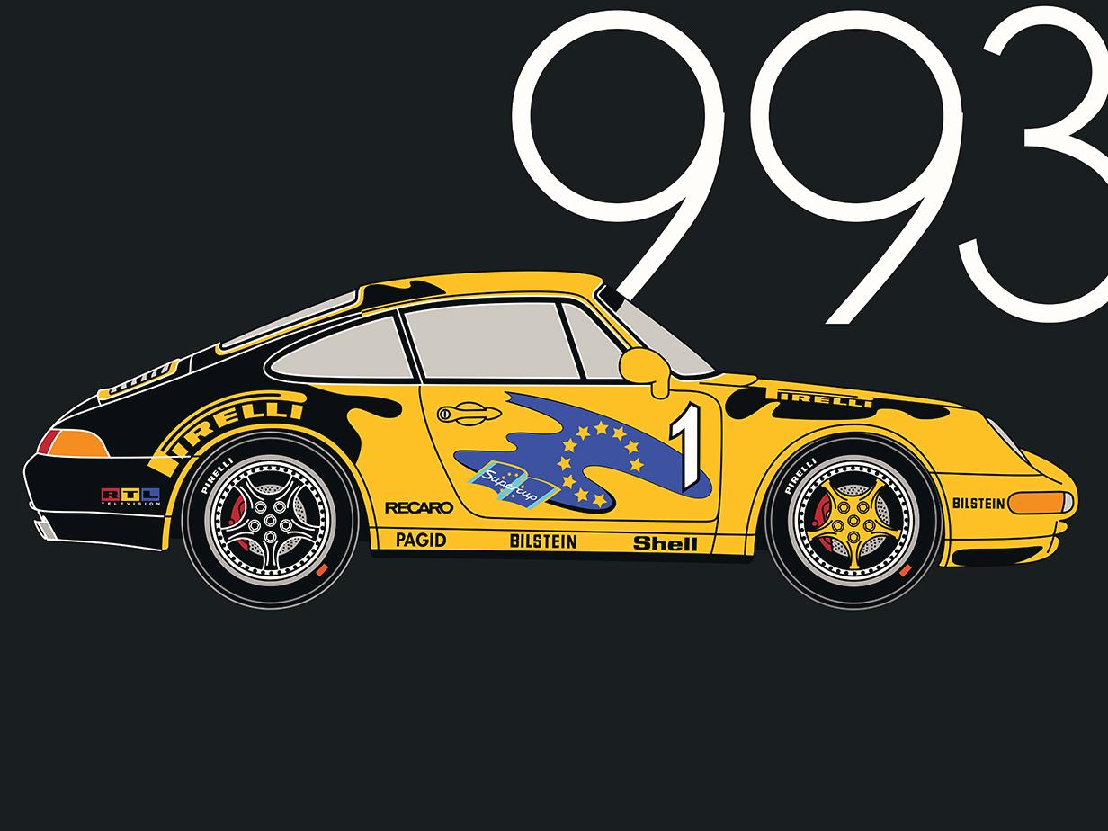 Porsche 993 Supercup flat design. Made in Illustrator. infographics poster supercar german adobe illustrator flat porsche 911 sportscar bilstein rtl recaro supercup pirelli 993 porsche material copyrighted vector retro illustration