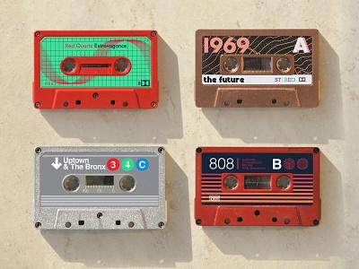 Cassette labels for fun subway nyc original 80s hi-fi project cassette audio tapes stickers autocad illustrator branding art vintage photoshop vector retro design illustration
