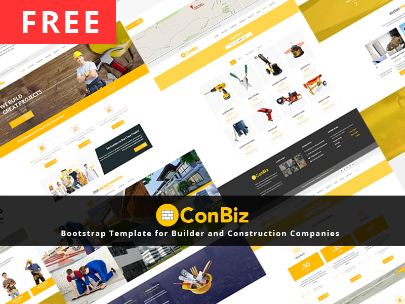 Free bootstrap construction business template by mohammad musharrof banner wrap dribble accmission Images