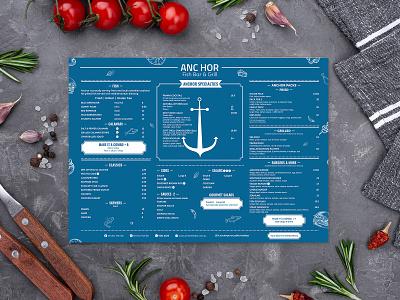 ANC HOR Menu Card Design bar restaraunt menu graphics meals beverage branding non vegetarian restaraunt yummy menu menu design menu card menu bar menu design