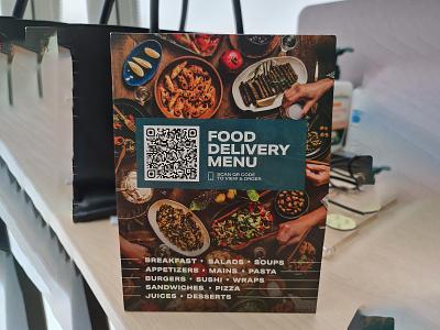 Food Delivery Menu Card Design scan code qr delivery food yummymenu restaraunt yummy menu menu design menu card menu bar menu design