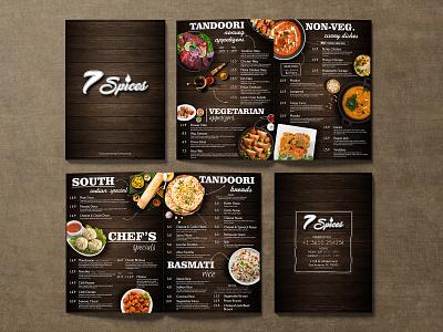 7 Spices Menu Card Design spices vegetarian card food yummymenu logo restaraunt yummy menu menu design menu card menu bar menu design