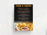 Fish And Chips Menu card
