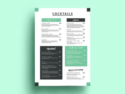 Cocktails Menu Card Design