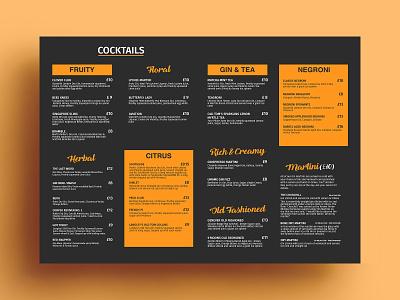 Cocktails Menu Card cocktails cuisine meal vegetarian restaurant menu yummy menu restaraunt menu design menu card menu bar menu graphics design cafe branding bar