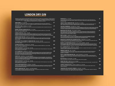 London Dry Gin Menu