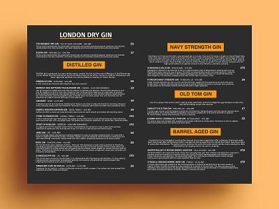 London Dry Gin Menu Card Design meal vegetarian restaurant menu yummy menu restaraunt menu design menu card menu bar menu graphics design cafe branding bar