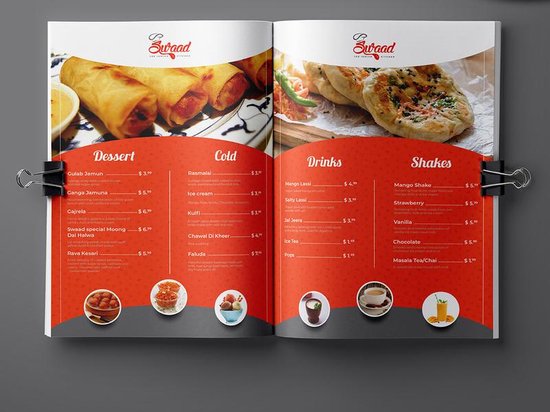Swaad Restaurant Menu Card Design cold shake drinks dessert swaad beverage meal menu bar menu card restaraunt restaurant menu cuisine vegetarian yummy menu menu graphics design menu design branding bar