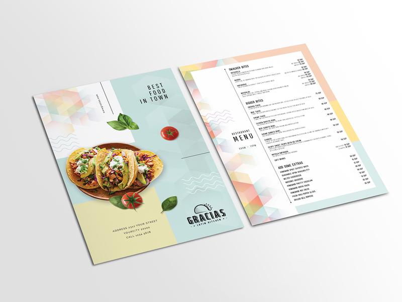 Gracias Restaurant Menu Card cuisine beverage menu card menu design restaraunt vegetarian meal menu menu bar illustration restaurant menu graphics yummy menu design branding