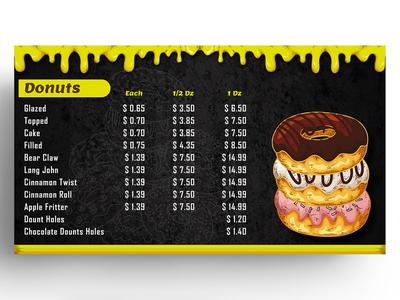 Donuts Menu Card Design