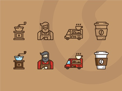 Coffee Time design flat icon vector logo raftel grinder food truck barista coffee cup coffee