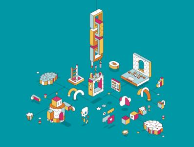 Magazine Cover. editorial creative studio branding illustration vector design isometric