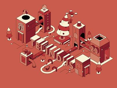 Digital Wishes Card vector isometric illustration animation motiondesign loopanimation