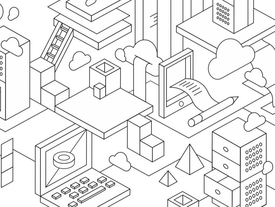 Cloud Isometry layout isometric isometric design composition design vector illustration creative studio