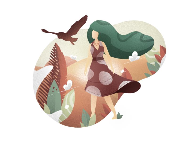Girl & Owl girl owl procreate ipadpro app caracter design composition illustration creative studio