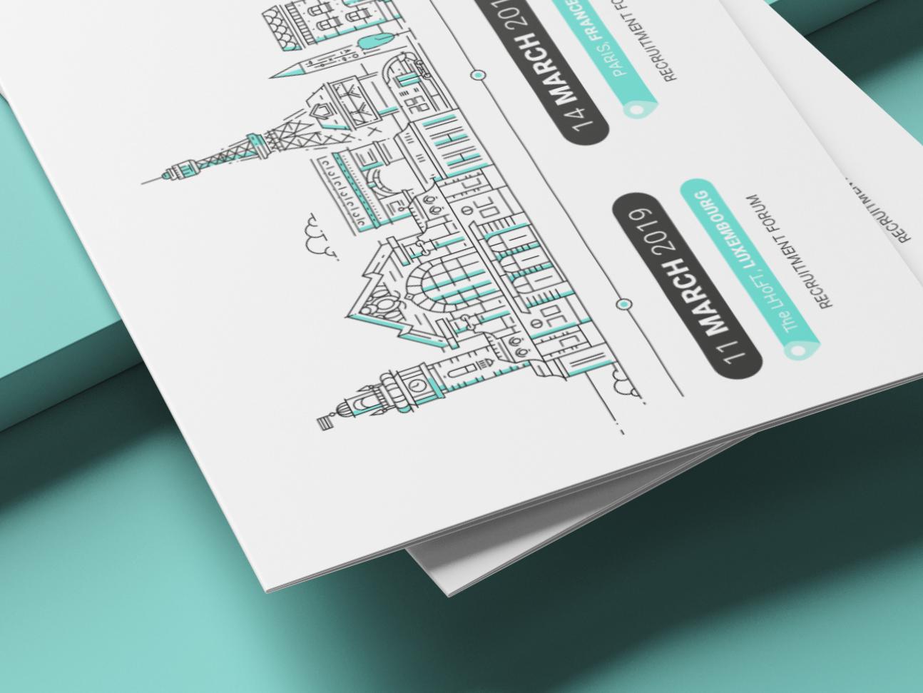 Time Line banner outline composition branding vector design illustration creative studio