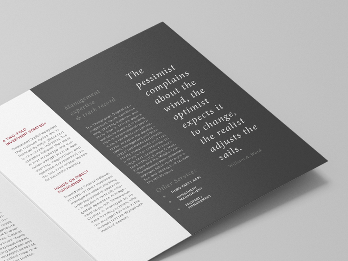 Booklet Threestones editorial layout branding design creative studio