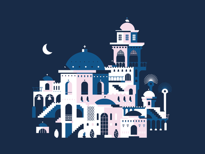 Santorin 2.0 design isometric composition illustration city vector flatdesign