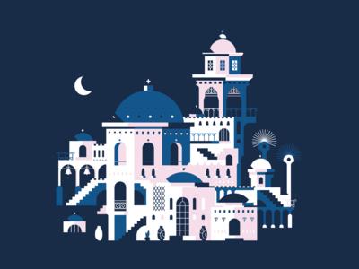 Santorin 2.0 design isometric composition illustration city vector flatdesign