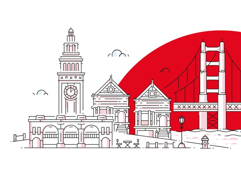 San Francisco line art