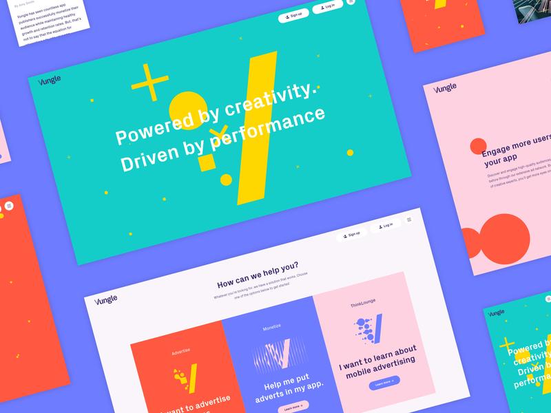 Vungle Screens website ui web ux design