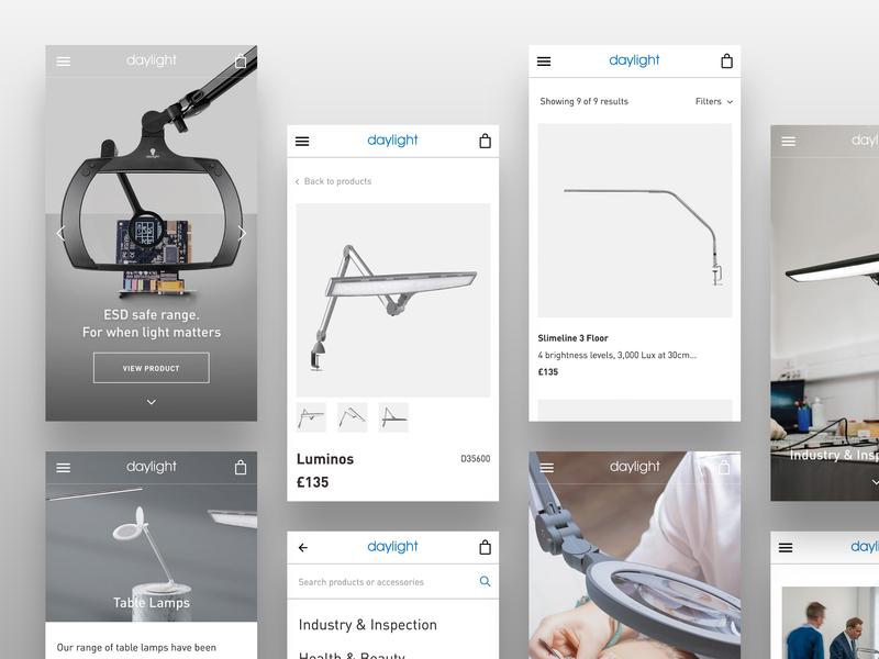 daylightcompany.com - Mobile Screens ecommerce website ui web ux design