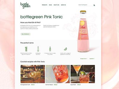 Bottle Green bottle landing page cocktails web design web design refreshment tonic product product page