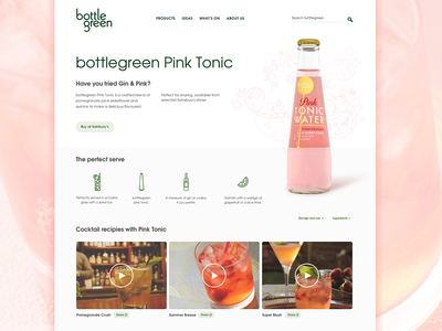 Bottle Green bottle landing page cocktails web design web design refreshment tonic product product page