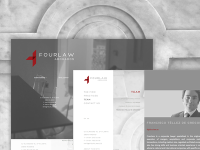 Fourlaw lawyer web design website kirby red grey logo design corporate law firm law