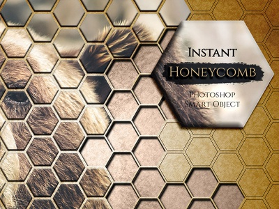 Instant Honeycomb Effect polygonal poygon photoshop layer addon smart object honeycomb effect