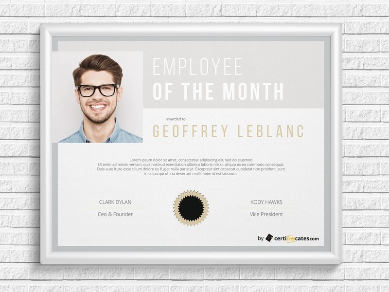 employee of the month certificate template with picture - employee of the month certificate template by hertzel