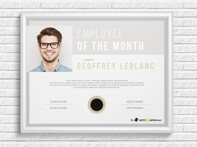 Employee of the month certificate template by hertzel dribbble employee of the month certificate template pronofoot35fo Image collections