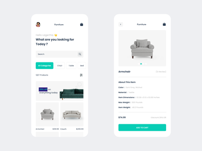 Furniture Shop shop user experience user interface mobile ui sofa add to cart couch armchair furniture white grey minimal web design mobile application app web ux ui