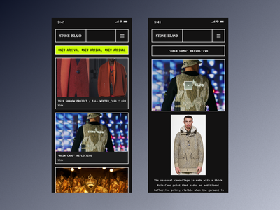 Stone Island Home stone island application web design web app mobile user interface user experience home page responsive dark clean ui clean design ux ui minimal