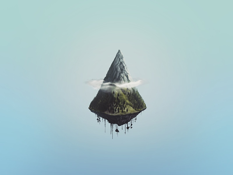 Mount Ascension flying hover sky clouds forest floating mountain