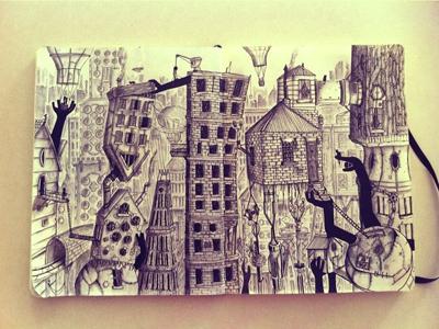 Sketchbook - City city sketchbook journal illustration art