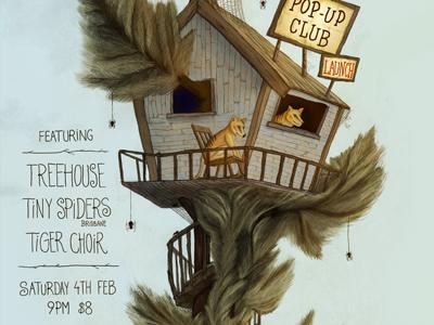 Pop Up Club #1 bands poster illustration thylacine treehouse spiders design