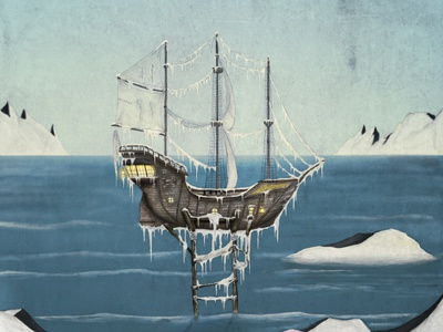 Cold boat ice poster illustration ship