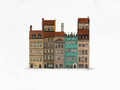 Old Town Square illustration drawing buildings city town warsaw