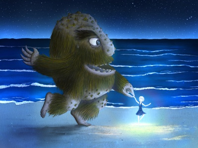 Night Dance illustration childrens book monster girl night beach