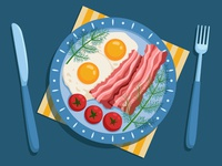 Fried eggs with bacon, cherry tomatoes and dill.