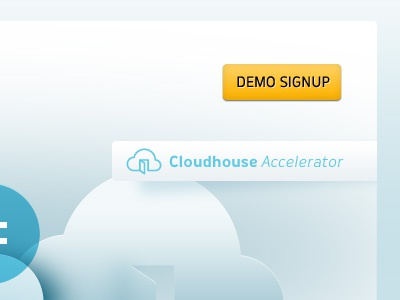 Cloud hosting cloud blue demo button yellow white gradient